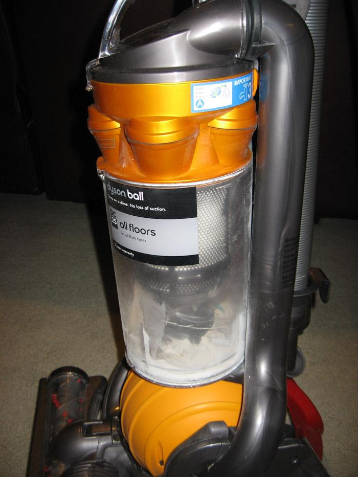 Dyson Vacuum canister close up
